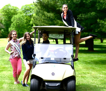 5/23/2019 Mike Orazzi | Staff Miss Forestville Jaymie Bianca, Miss Wolcott's Outstanding Teen 2018 Ava Onofreo, Miss Greater Rockville Sylvana Gonzalez and Miss New Haven Erika Farrell at the 2nd Annual Miss Connecticut Golf Tournament held at Chippanee Golf Club in Bristol on Thursday.