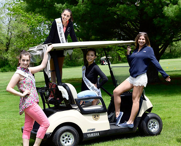 5/23/2019 Mike Orazzi | Staff Miss Forestville Jaymie Bianca, Miss New Haven Erika Farrell, Miss Greater Rockville Sylvana Gonzalez and Miss Wolcott's Outstanding Teen 2018 Ava Onofreo at the 2nd Annual Miss Connecticut Golf Tournament held at Chippanee Golf Club in Bristol on Thursday.