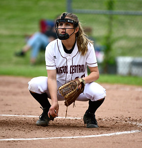 5/23/2019 Mike Orazzi | Staff Bristol Central's Peyton Greger (10) during softball at BEHS Thursday afternoon.