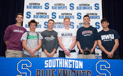 05/23/19  Wesley Bunnell | Staff  Southington High School's Nico Gaudio, Bryce Worth, Kyle Leifert , Jamie Lamson Ryan Henderson , Jacob Cardozo pose for photo after signing their letters of intent to play college sports.