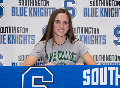 05/23/19  Wesley Bunnell | Staff  Southington High School's Taylor Borla after signing her letter of intent to play college lacrosse.