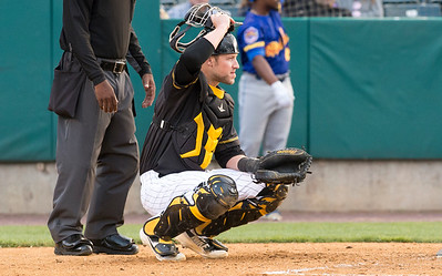 05/24/19  Wesley Bunnell | Staff  New Britain Bees vs the High Point Rockers on Friday night at New Britain Stadium.  Catcher Logan Moore (30).