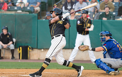 05/24/19  Wesley Bunnell | Staff  New Britain Bees vs the High Point Rockers on Friday night at New Britain Stadium.  Taylor Motter (25).