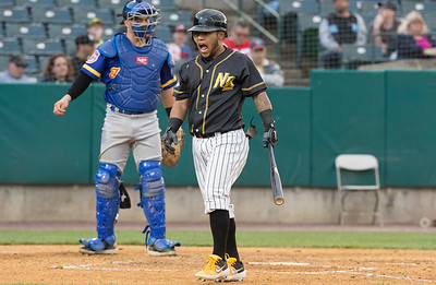 05/24/19  Wesley Bunnell | Staff  New Britain Bees vs the High Point Rockers on Friday night at New Britain Stadium.  Alexi Amarista (2) reacts after almost being hit by the pitch.