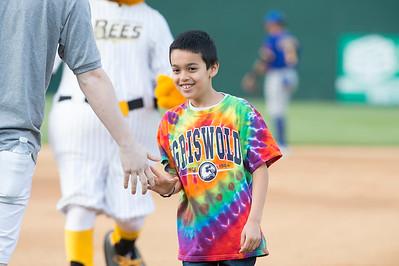 05/24/19  Wesley Bunnell | Staff  New Britain Bees vs the High Point Rockers on Friday night at New Britain Stadium. Rocco Iovene, age 10, smiles after winning the mascot race against Sting.