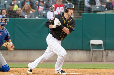 05/24/19  Wesley Bunnell | Staff  New Britain Bees vs the High Point Rockers on Friday night at New Britain Stadium.  Logan Moore (30).