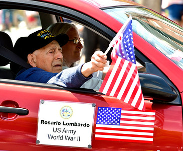 5/25/2019 Mike Orazzi | Staff US Army Veteran of WWII Rosario Lombardo, during the annual Newington Memorial Day parade on Saturday.