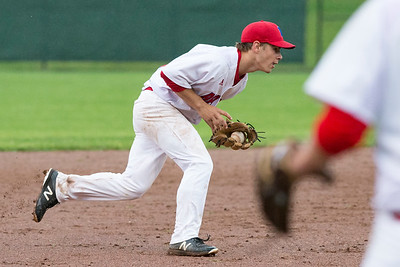 05/28/19  Wesley Bunnell | Staff  Berlin baseball vs Weston in a Class L playoff game which was suspended due to rain after 5 1/3 innings with Berlin up 7-5.  The game is scheduled to begin play again tomorrow at 4pm. Dan Veleas (25) fields a ground ball to short stop.