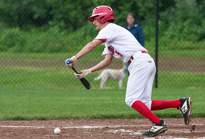 05/28/19  Wesley Bunnell | Staff  Berlin baseball vs Weston in a Class L playoff game which was suspended due to rain after 5 1/3 innings with Berlin up 7-5.  The game is scheduled to begin play again tomorrow at 4pm. Gianni Fanelli (5) would bunt for a base hit.