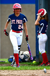 5/29/2019 Mike Orazzi | Staff St. Paul's Janessa Gonzalez (24) during Wednesday's Class S First Round softball game in Bristol.