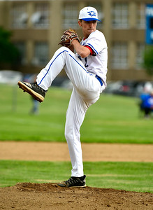 5/29/2019 Mike Orazzi | Staff St. Paul's Walker Sharp (2) during Wednesday's Class S First Round baseball game with Sacred Heart in Bristol.