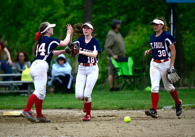 5/30/2019 Mike Orazzi | Staff St. Paul's Abby Poirot (24), Caleigh Mcdougall (18) and Jessica Persechino (30) during a 6-4 St. Paul win in a Class S Second Round softball game in Bristol Thursday.