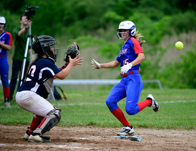 5/30/2019 Mike Orazzi | Staff St. Paul's Katrina Roy (20) and Hale Ray's Hannah Lemke (15) during a 6-4 St. Paul win in a Class S Second Round softball game in Bristol Thursday.