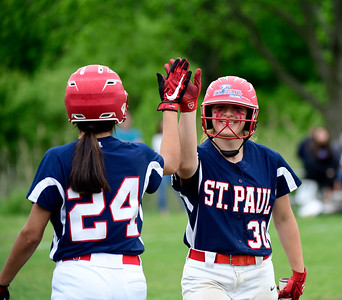 5/30/2019 Mike Orazzi | Staff St. Paul's Janessa Gonzalez (24) and Jessica Persechino (30) during a 6-4 win over Hale Ray in a Class S Second Round softball game in Bristol Thursday.
