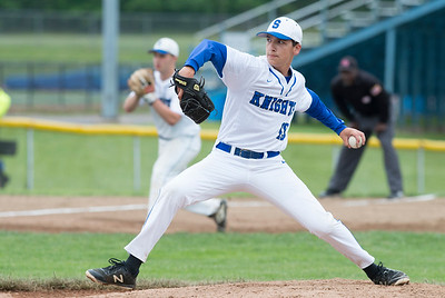 05/29/19  Wesley Bunnell | Staff  Southington defeated New Britain 4-3 in 11 innings on a walk off single by Billy Carr (17) in the continuation of a game suspended in the 10th inning due to rain on May 29th.  Pitcher Vincent Spizzoucco (19).