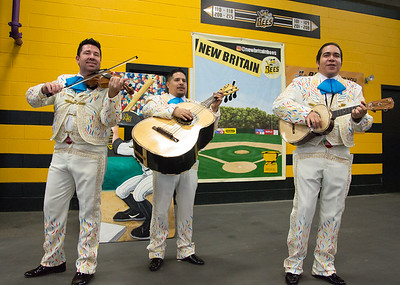 05/03/19  Wesley Bunnell   Staff  The New Britain Bees home opener vs the Somerset Patriots on Friday night at New Britain Stadium. A mariachi band from Cirque Du Soleil Luzia performs for fans.