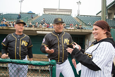 05/03/19  Wesley Bunnell   Staff  The New Britain Bees home opener vs the Somerset Patriots on Friday night at New Britain Stadium. Mayor Erin Stewart stops to speak with coach Chuck Stewart, L, and Manager Mauro Gozzo.