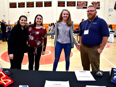 5/3/2019 Mike Orazzi   Staff Laurentano Sign Company's Amber Mohagel, Stephanie Aquino, Tabitha Kennedy and  Robert Kennedy during the 9th Annual Terryville High School Career Fair on Friday morning.