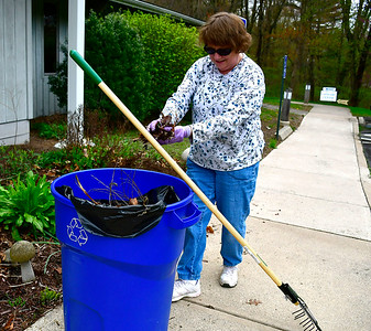 5/4/2019 Mike Orazzi | Staff Terry Pelletier cleans up during the Bristol Rotary Club's can and bottle drive held at the Harry C. Barnes Memorial Nature Center on Shrub Road in Bristol Saturday morning.