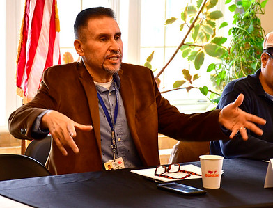 5/4/2019 Mike Orazzi | Staff State Rep. Bobby Sanchez during The legislative Black and Puerto Rican Caucus' town hall meeting Saturday held at the Human Resources Agency of New Britain.