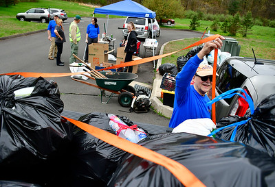 5/4/2019 Mike Orazzi | Staff Bob DuPont loads up bottles and can during the Bristol Rotary Club's drive held at the Harry C. Barnes Memorial Nature Center on Shrub Road in Bristol Saturday morning.