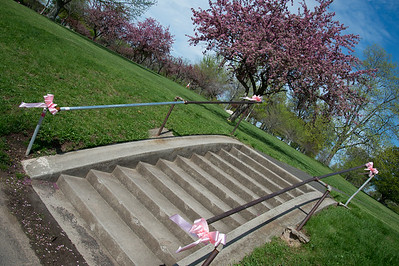 05/6/19  Wesley Bunnell | Staff  Pink ribbons tied to hand rails in Walnut Hill Park in advance of the CT Breast Health Initiative's Race in the Park.