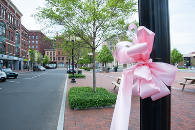 05/6/19  Wesley Bunnell | Staff  Pink ribbons decorate a light pole in Central Park in advance of the CT Breast Health Initiative's Race in the Park.
