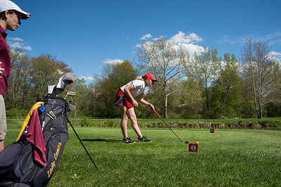 05/8/19  Wesley Bunnell | Staff  Berlin girls golf defeated New Britain at Timberlin Golf Course on Wednesday afternoon. Berlin's Jessica Napoli lines up her shot on the tee of a par 3.
