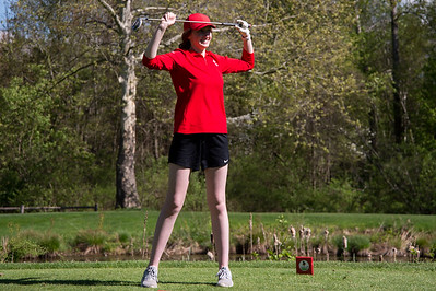 05/8/19  Wesley Bunnell | Staff  Berlin girls golf defeated New Britain at Timberlin Golf Course on Wednesday afternoon. Berlin's Jenna Smalley reacts after her tee shot on a par three.