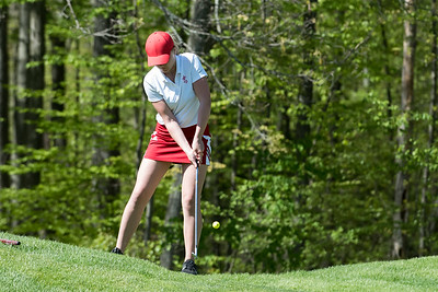 05/8/19  Wesley Bunnell | Staff  Berlin girls golf defeated New Britain at Timberlin Golf Course on Wednesday afternoon. Berlin's Jessica Napoli chips onto the green.