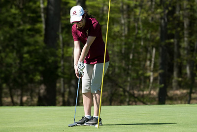 05/8/19  Wesley Bunnell | Staff  Berlin girls golf defeated New Britain at Timberlin Golf Course on Wednesday afternoon. New Britain's Leah Gaffney sinks a short putt.