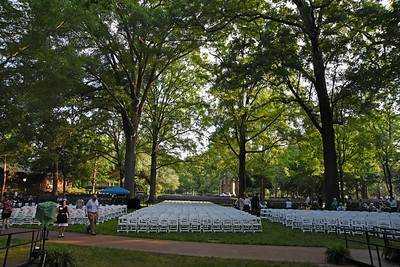 The view from the lecturn early Sunday morning as the final preparations were taking place for Davidson's 182nd Commencement.