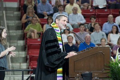 """College chaplain Rob Spach delivered the Baccalaureate sermon titled """"The Elephant in the Room."""""""