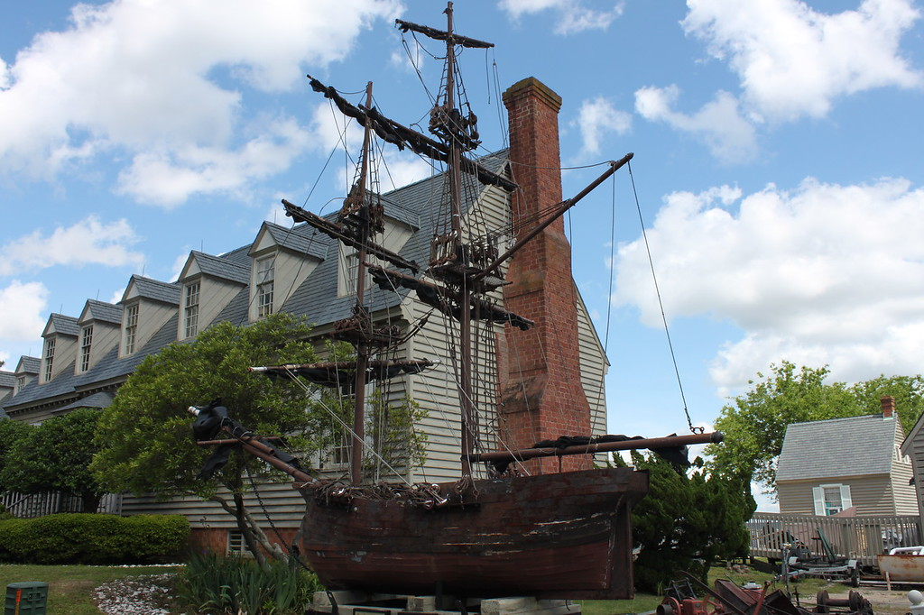 A replica ship sits in downtown Yorktown