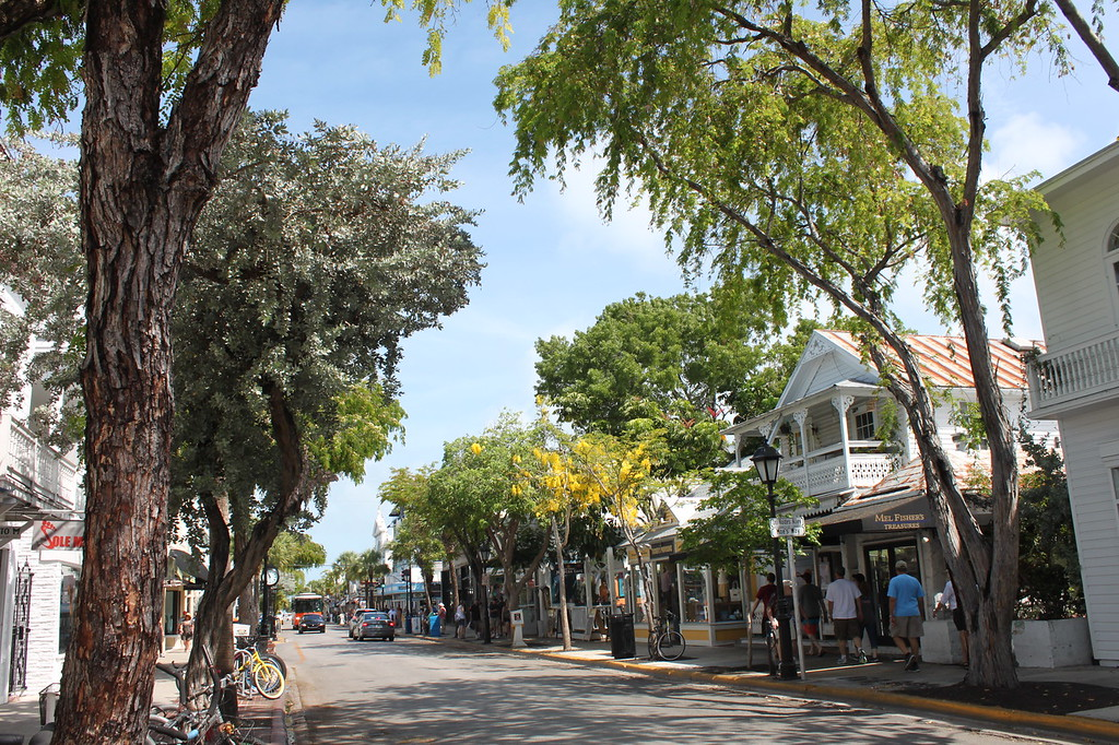 A tree lined street has Victorian looking buildings in Key West, Florida