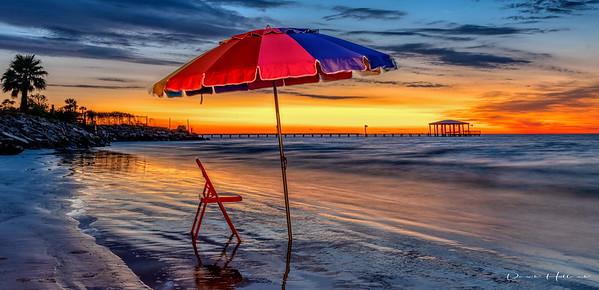 Sunrise at El Jardin Beach (Gulf Coast near Pasadena, Tx)... yes those are props