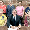 KEVIN HARVISON | Staff photo<br /> McAlester Fortnightly, a member of the General Federation of Women's Clubs of Oklahoma, and its members have enhanced the citizens and community of McAlester, Oklahoma in Pittsburg County, through their commitment to volunteer service programs for 115 years. McAlester Fortnightly Club asks for recognition of GFWC Federated Anniversary Day as May 14, 2019 as celebration of our Clubwomen donating their volunteer efforts and monetary donations to the Hope House, CASA, Youth Emergency Shelter and Domestic Violence Shelter in our area, along with the 1904 establishment of the McAlester Public Library by the predecessors of these Clubwomen. McAlester Mayor John Browne in support of this noble and worthy cause, hereby proclaimed the Day of May 14 as GFWC Federated Anniversy Day. Pictured seated from left, Victoria Bolte, vice president of GFWC of McAlester, John Browne, mayor, Kathy Brod, president of GFWC of McAlester; and back row are, Angie Sellmeyer, Megan Ciolli, vice director Literary Club, Linda Navratil, cornerstone vice director and Bonnie Strickland director arts and crafts GFWC.