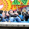 KEVIN HARVISON | Staff photo<br /> A group of people react to a carnival ride during the 2019 Italian Festival Friday.