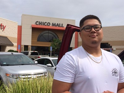 Rudy Distri of Oroville waits Wednesday for the Chico Mall to reopen. (Laura Urseny -- Enterprise-Record)