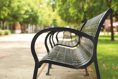 The benches at Chico State once filled with students sit empty Tuesday in Chico. (Carin Dorghalli -- Enterprise-Record)