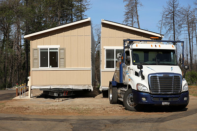 Paradise Mobile Estates is the first mobile home park to open in Paradise, with Theresa and Gregory Vincent's home being the first to arrive Tuesday in Paradise. (Carin Dorghalli -- Enterprise-Record)