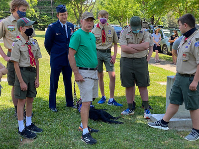Davidson native and retired Army Lieutenant Colonel Tim Stroud spoke to the group about his service and his current volunteer work with Continuing the Mission.