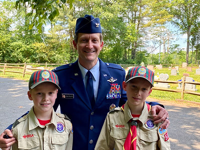 Colonel, U.S. Air Force Retired, Aaron Steffens and his sons are relatively new to Davidson, and helped out with placing flags at Veterans graves throughout Davidson.