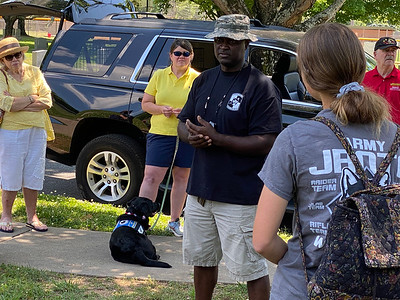 First Sergeant (Retired) Daryl Hayes is the senior enlisted leader at the JROTC program at Hough High School. He coordinated cadet participation in the Flags In event and also shared his story about his service in the U.S. Army.