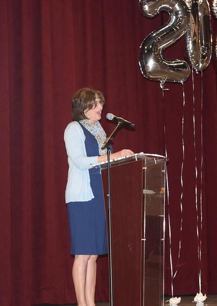 Julie Brower, director of Northeastern Junior College's nursing program, congratulates the graduates at the Associate Degree Nursing Pinning Ceremony Thursday, May 13, 2021.
