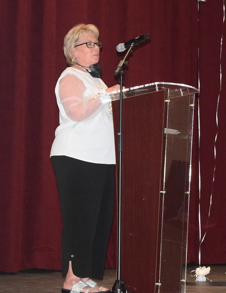 Guest speaker Jody Kind gives some words of advice to the graduates at Northeastern Junior College's Associate Degree Nursing Pinning Ceremony Thursday, May 13, 2021.