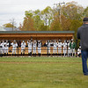 Marty Flood, President of the Memorial Park Improvement Project gives a speech at the newly renovated field in Essex, Saturday, May 8, 2021. Jared Charney / Salem News