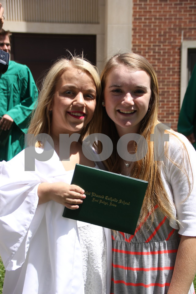 Seen left to right is: Kaley Fesser and Madi Tarbox, both graduates of Saint Edmond High School which held commencement on Sunday, May 22, 2016 at the Saint Edmond High School in Fort Dodge.