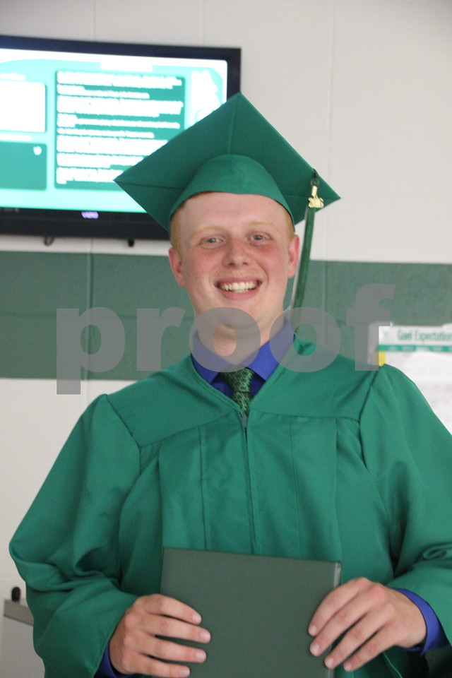 Seen is: Conley Messerly, a graduate, of Saint Edmond High School which held commencement on Sunday, May 22, 2016 at the Saint Edmond High School in Fort Dodge.