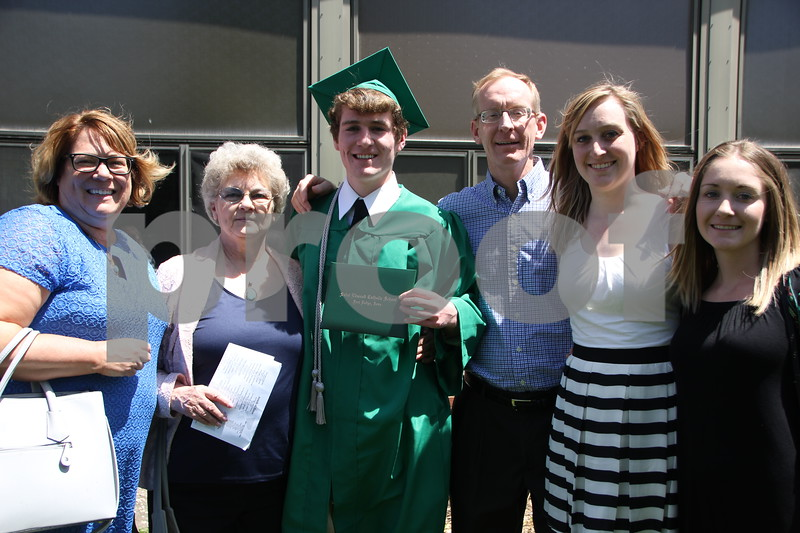 Pictured here from left to right is: Joyce McCarville, Grandma Yetmar, Mike, Joe, Emily, and Kate McCarville. They were attending the Saint Edmond High School Graduation held on Sunday, May 22, 2016 at the Saint Edmond High School in Fort Dodge.